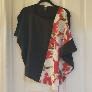 Chicos black label black and red floral top